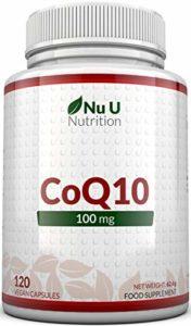 Coenzyme Q10 100mg- 120 CoQ10 Gélules – Compléments alimentaires de Nu U Nutrition