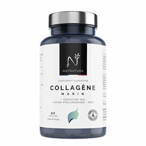 Collagène marin et Acide Hyaluronique + Zinc + Coenzyme Q10 + Vitamine C. 1 300 mg de Collagène hydrolysé pur | 90 Gélules végétales pour les articulations et la peau.