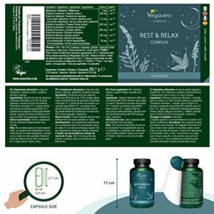 Complément Aide Sommeil Naturel Vegavero® | 120 gélules | Relaxant | Mélatonine + Valériane + Passiflore + Lavande + Bacopa |Sommeil Réparateur | Réduit l'insomnie | Vegan