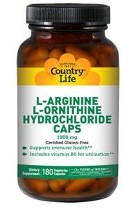 Country Life – L-Arginine L-Ornithine Hydrochloride Caps 1000 mg – 180 Capsules