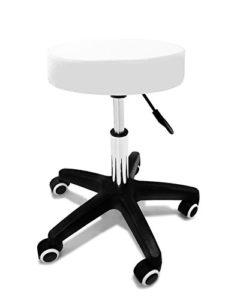 Crisnails Tabouret pivotant à roulettes de qualité professionnelle pour coiffeur/esthéticien/dentiste blanc