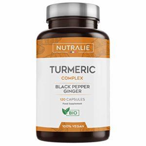 Curcuma Bio 650mg/Capsule Mélange Curcuma (650mg) – Pipérine (50mg) – Gingembre(10mg) pour une Absorption Otpimale 120 Capsules Gastro Résistantes 100% Vegan Produit par Nutralie