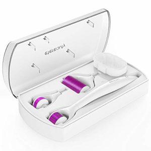 Derma Roller, ETEREAUTY 0.5mm Micro-aiguille Rouleau Derma pour le Soin de la Peau, Approuvé CE 1.0/1.5mm Aiguilles pour la Régénération de la Peau, Anti-âge, Traitement des Rides et Cellulite