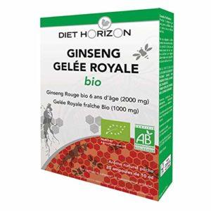 Diet horizon – Ginseng gelée royale bio – 20 ampoules – Fortifiant et reconstituant