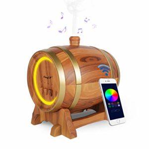 Diffuseur d'Aromatherapy de Musique,Diffuseur d'Huile Essentielle 350ML Humidificateur Avec le Haut-parleur Bluetooth+3 Minuteries+7 Couleurs-Pour SPA/Yoga/Bureau Etc(Compatible avec Apple et Android)