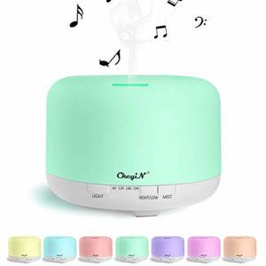 Diffuseur d'Huile Essentielle Bluetooth,800ML Humidificateur,Diffuseur d'Arômes Peut être Utilisé Comme Lecteur de Musique et Veilleuse-Pour SPA/Yoga/Bureau Etc