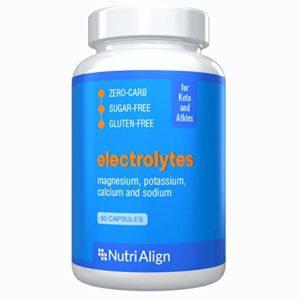 Électrolytes Nutri-Align : magnésium, potassium, calcium, sodium. Assure un bon équilibre des électrolytes et aide à réduire la grippe cétogène. Sans sucre, sans glucides, sans gluten. 90 gélules.