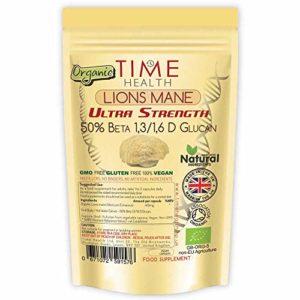 Extrait de Champignon Hericium Erinaceus (Lions Mane) Bio Gélules – Formule Forte – 50% Beta 1,3/1,6 D Glucan – Sans Additifs (120 capsules – poche)
