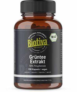 Extrait thé vert 150 capsules, 1500mg par jour, dose la plus élevée min. 60% des polyphénols, l'EGCG, végétalien, sans gluten et sans lactose, sans additifs et fluide, rempli et contr