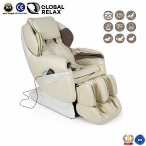 Fauteuil de Massage professionnel SAMSARA 2D-Shiatsu – Blanc (nouveau modèle 2018) – Relax – Rapport qualité-prix – Massage thermique sur le dos – 5 modes de massage – Massage à l´air – Gravité Zéro – Garantie Officielle 2 ANS de Global Relax France