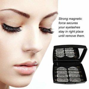 Faux Cils Magnétique,3D Réutilisables sans Colle Faux cils Naturels à la Main Ultra-Minces,aspect naturel pour extension de cils de maquillage,Avec une Pince à Épiler