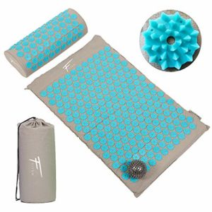 Fitem Kit d'acupression – Tapis d'Acupression + Coussin + Sac + Boule de Massage – Soulage douleurs Dos et Cou – Relaxation Musculaire