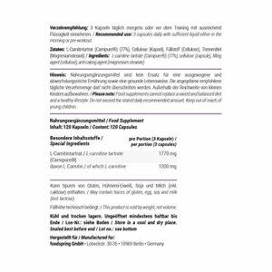 foodspring L-carnitine, 120 gélules, Perdre du poids avec la L-carnitine
