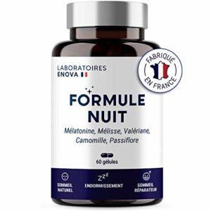 FORMULE NUIT | Complément alimentaire pour dormir | 1.9mg Mélatonine + phyto-complexe 100% naturel : Valériane, Mélisse, Camomille, Passiflore | 60 nuits de sommeil naturel | Fabriqué en France