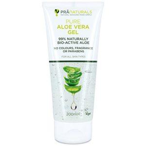 Gel à L'Aloe Vera Bioactif PraNaturals 200ml – Apaisant naturel et hydratant nourrissant – Hydrate la peau endommagée – Gel s'absorbant facilement sans sensation grasse – Riche en vitamines et minéraux, sans odeur