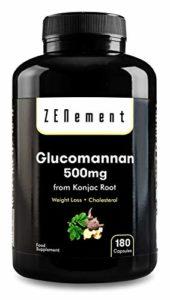 Glucomannane 500mg, 180 Gélules | Fibre végétale issue de la racine de konjac, rassasiant naturel, aide à perdre du poids | 100% Vegan, non-GMO, sans additifs, sans gluten | de Zenement