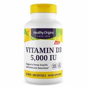 Healthy Origins, Vitamin D3 la vitamine D3, 5,000 IU, 360 Softgels