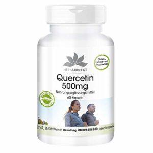 Herbadirekt – Quercétine 500mg – 60 gélules véganes – hautement dosé – Flacon avantageux pour 2 mois