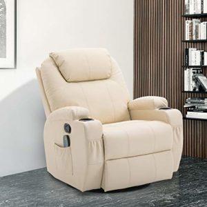 Homcom Fauteuil canapé sofa relaxation massant chauffant et vibrant inclinable pivotant à 360° similicuir 92L x 84l x 109Hcm beige 36