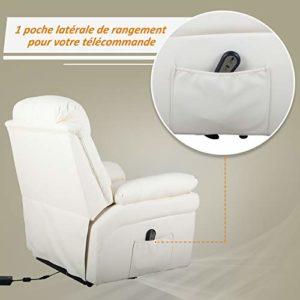 Homcom Fauteuil de Relaxation électrique Fauteuil releveur inclinable avec Repose-Pied Ajustable Simili Cuir