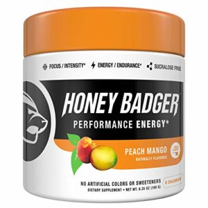 Honey Badger Performance Energy Natural Pre Workout for Men & Women (Peach Mango, 30 Servings, Sugar Free, Sucralose Free, Naturally Flavored & Sweetened, No Dyes, Beta-Alanine, Citrulline)