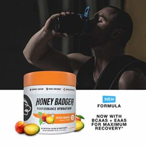 Honey Badger Performance Hydration Natural Post Workout Peach Mango – Alpha-GPC