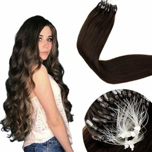 LaaVoo Pose a Froid Easy Loop Extension Cheveux Naturel Microbeads Bresilien Humains Lisse Droite 50G/50S 20pouces/50cm #2 Brun Fonce