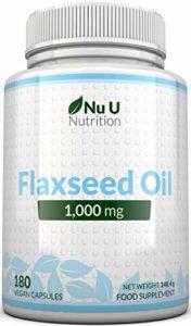 L'Huile de Graines de Lin 1,000 mg Végétalien | 180 Gélules Softgel Végétaliennes Pressé à Froid – Approvisionnement pour 3 Mois | Riche en Omégas 3, 6 & 9