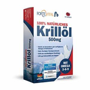 L'huile de Krill naturel 500mg Premium avec oméga 3, oméga 6, oméga 9, 60 capsules (huile de Krill) avec 14mg astaxanthine par 100g / à haute dose de ForteVital