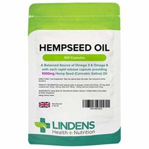 Lindens Huile de chanvre 1000mg en gélules   100 Lot   Une source équilibrée d'oméga3 et d'oméga6 dans chaque gélule à dissolution rapide qui fournit 1000mg d'huile de chanvre (cannabis sativa)