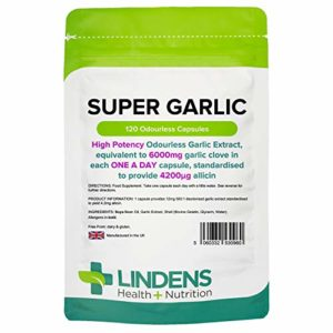 Lindens Super Ail 6000mg très fort en comprimés   120 Lot   Extrait d'ail très puissant, inodore fournissant l'équivalent de 6000mg d'ail par comprimé à prendre une fois par jour, uniformisé pour fournir 4200μg d'allicine