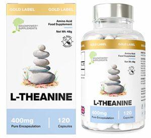 L-Théanine par Brainpower Nootropics 400mg dose de lthéanine super puissante | Acide aminé pour la fonction cognitive, mémoire et concentration, contre le stress et l'anxiété| anxiolytique | qualité pharmaceutique | Garantie de remboursement