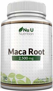 Maca Root 2500 mg – à base de racine de maca – Cure de 6 mois/180 Gélules – Compléments alimentaires de Nu U Nutrition