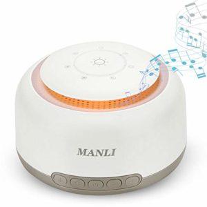 Machine de Bruit Blanc White Noise Machine, MANLI Appareil de Sommeil Thérapie 18 Sonore Naturelles Fonction de Mémoire avec Câble USB pour Bébés, Adultes, âges