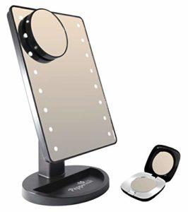 Menthe poivrée Cafe®–Ordinateur de bureau Lot de boîte à miroir de maquillage lumineux (16lumières LED) complet avec amovible Miroir grossissant x 10et format de poche Miroir compact