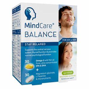 MindCare BALANCE supplément de soulagement du stress – huile de poisson sauvage oméga-3, magnésium, L-théanine & multivitamines pour le système nerveux ; formule en deux gélules qui vous aide à rester détendu, offre le soulagement du stress et de l'anxiété, 60 capsules