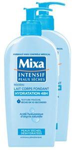 MIXA Lait pour Corps Fondant Hydratation 48H pour Peaux Sèches/Déshydratées 250 ml – Lot de 2