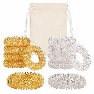 moinkerin 10 morceaux Acupressure anneaux de massage des mains, Bague en métal de médecine Pour Massage des doigts ou Massage des orteil