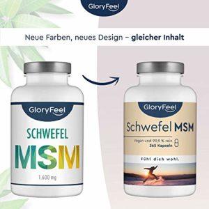 MSM Soufre Organique – Poudre MSM pur – 365 capsules à fortes doses: 99,9% pure MSM (méthyl-sulfonyl-méthane) – 1400 mg de poudre MSM purement + 80 mg Vitamine C par dose quotidienne – 5-6 mois MSM cure – Qualité Supérieure