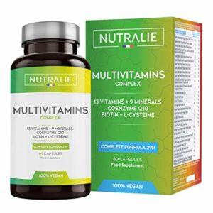 Multivitamines et Minéraux 29 Nutriments Essentiels | Complexe de Vitamines A, B, C, D, E, K, Biotine, L-Cystéine, Coenzime Q10 et 9 Minéraux | 60 Gélules | NUTRALIE