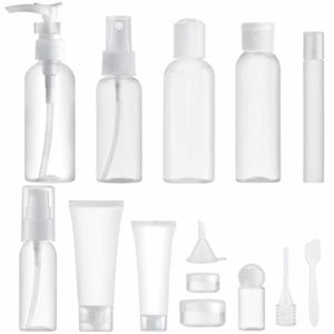 MYLL 14 Pièces Flacons Vide Kit Voyage Avion (Max.100ml) | Contenant Cosmetique Vide / Bouteille Plastique avec Trousses de Toilette – pour Shampooing et Spray (Transparent)