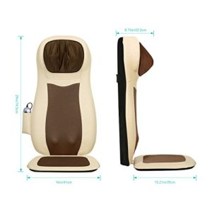 Naipo Siège Massant Shiatsu Siege de Massage avec Fonction Chauffante 3D Massage du Haut et du Bas du Dos du Cou, de Massage Réglable, Tout, Muscles, Vibration, Chaleur Apaisante