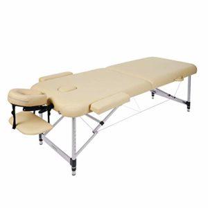 Naipo Table de Massage Aluminium Lit Cosmétique Kiné Table de Beauté Professionnel Pliante Ergonomique Canapé Thérapie Haute Qualité Ultra Solide Léger Confort + Housse de Transport