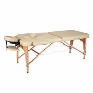 Naipo Table de Massage Pliante Professionnelle Cosmétique Portable Lit table de beauté Canapé Pieds en Bois Hêtre 2 Zones Pliables Hauteur Réglable pour Thérapie Spa Beige + Housse de Transport