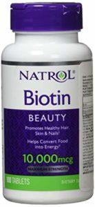 Natrol – Biotine – Vitamine B8 pour des Cheveux Brillants et des Ongles Forts – 100 Comprimés Solubles – 10000 mcg