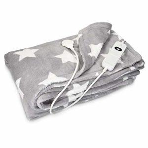 Navaris couverture chauffante électrique 180 x 130 cm – Plaid doux canapé lit – Arrêt automatique – Lavable en machine – Gris clair avec étoiles