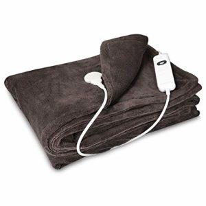 Navaris couverture chauffante électrique 180 x 130 cm – Plaid doux canapé lit – Arrêt automatique – Lavable en machine – Marron foncé