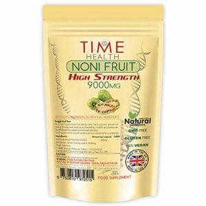 Noni: Extrait de fruit noni 9 000 mg – 120 capsules – Fabriqué en Angleterre