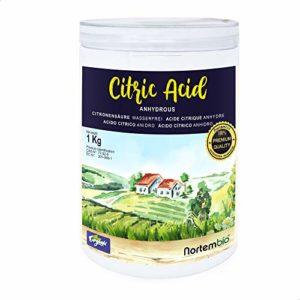 NortemBio Acide Citrique 1 Kg, Qualité Premium, Poudre Anhydre, Pure Naturelle la Production Biologique. Développé en France.