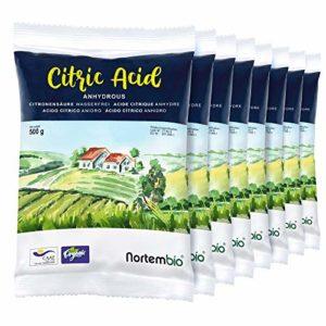 NortemBio Acide Citrique 4 Kg (8x500g). Poudre Anhydre, 100% Pure. pour la Production Biologique. Développé en Francia.